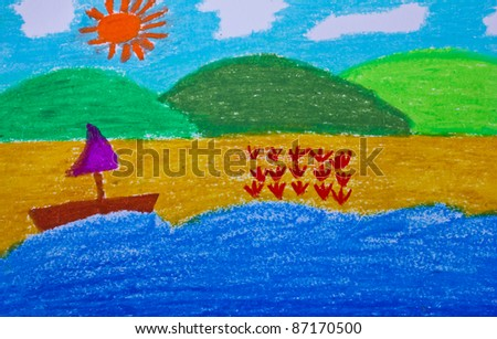 crayon drawing of a beach and boat - stock photo