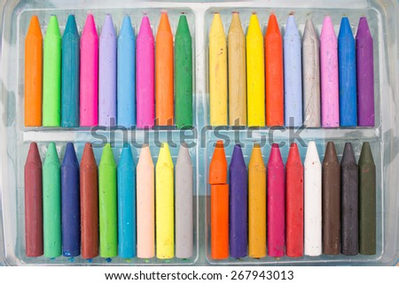 Crayon in the tray - stock photo