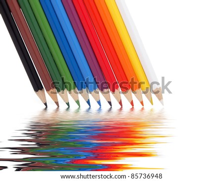 Crayons on the white background - stock photo