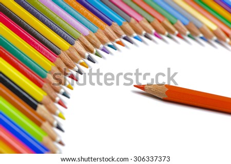 crayons show symbolic personal and boss at company - stock photo