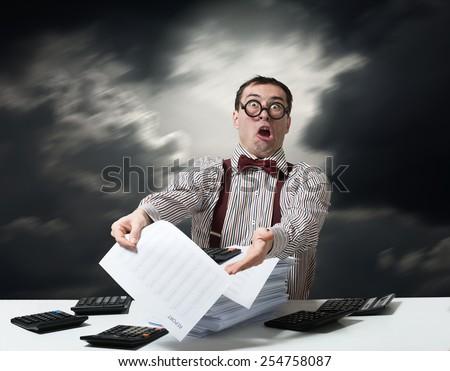 Crazy accountant  - stock photo