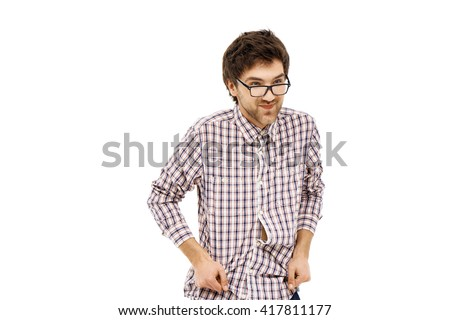 Crazy and funny cheerful handsome young man in plaid shirt and glasses with messy hair. Isolated on white background. - stock photo