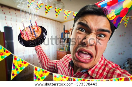Crazy birthday boy - stock photo