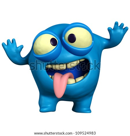 crazy blue monster - stock photo