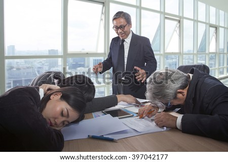 crazy business man in office meeting room  - stock photo