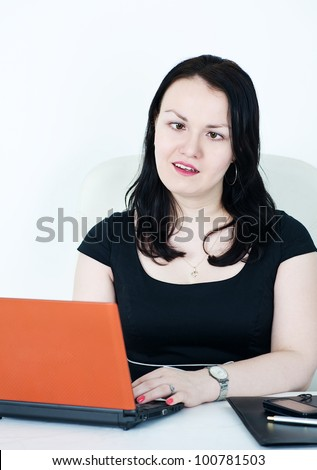 Crazy business woman - stock photo