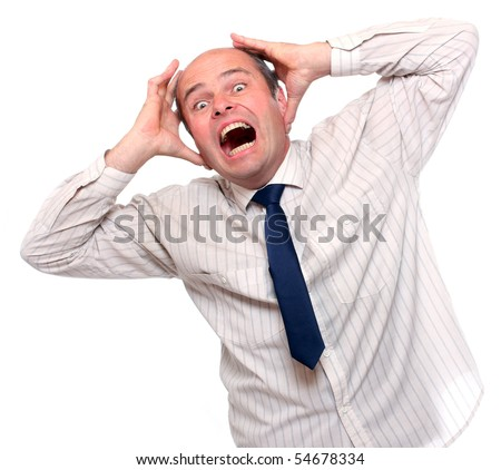 Crazy businessman. - stock photo