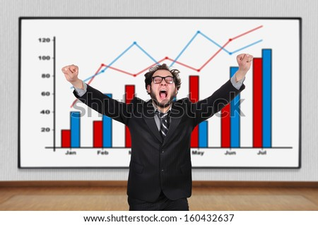 crazy  businessman and blackboard with chart - stock photo