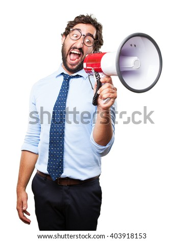 crazy businessman angry expression - stock photo