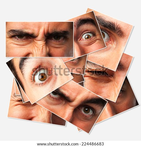 crazy businessman group of photos and concepts - stock photo