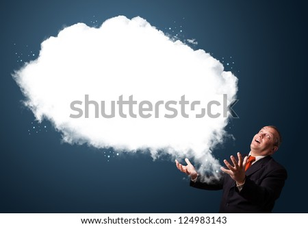 Crazy businessman in suit presenting abstract cloud copy space - stock photo