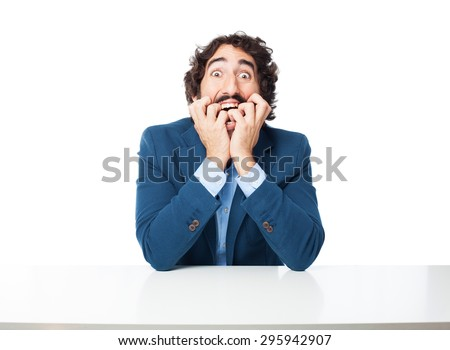 crazy businessman scared concept - stock photo