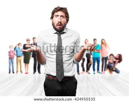 crazy businessman worried expression - stock photo
