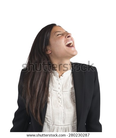 Crazy businesswoman stressed out from work screams - stock photo