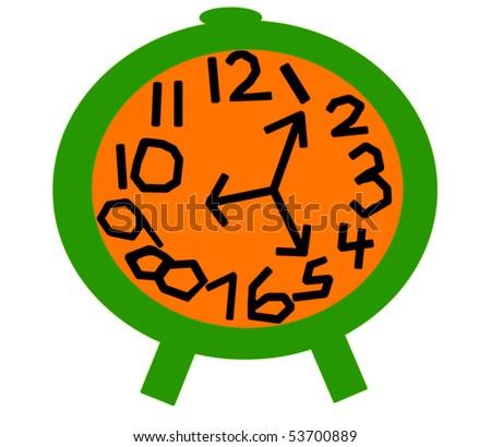 Crazy Clock in Green and Orange - stock photo