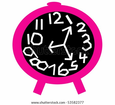 Crazy Clock in Pink and Black - stock photo