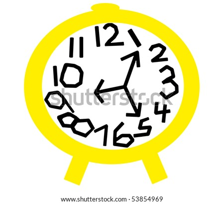 Crazy Clock in Yellow and White - stock photo