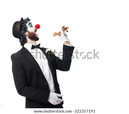 crazy clown man with plane - stock photo