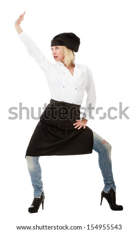 crazy cooker dancing with black chef hat - stock photo