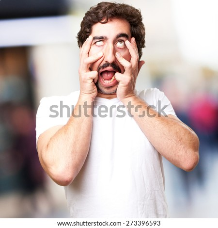 crazy disgust man - stock photo
