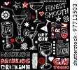 crazy drinking doodles, hand drawn design elements isolated on black background - stock photo