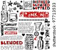 crazy drinking doodles, hand drawn design elements isolated on white background - stock photo