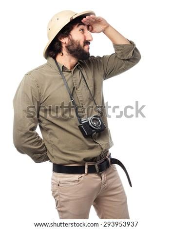crazy explorer man looking far sign - stock photo