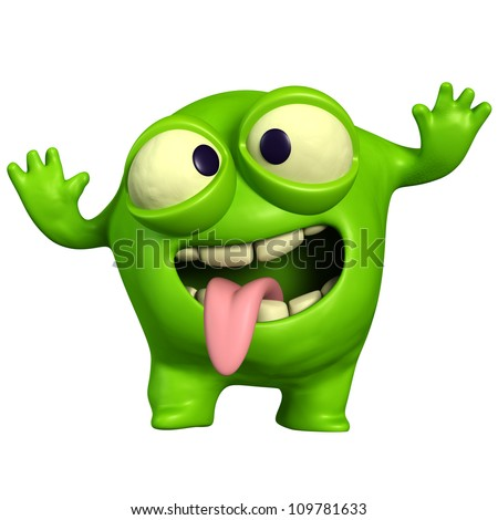 crazy green monster - stock photo