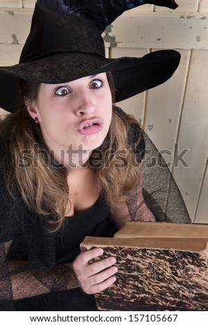 crazy halloween witch - stock photo
