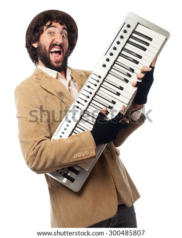 crazy homeless man with piano - stock photo