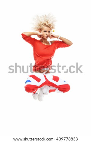 Crazy jump isolated on white - stock photo