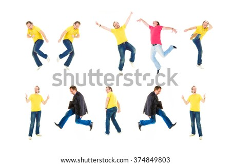 Crazy Jumping Isolated over White  - stock photo