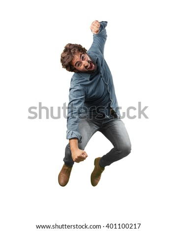 crazy man angry expression - stock photo