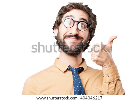 crazy man.funny expression - stock photo
