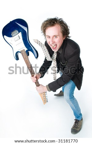 Crazy man with electro guitar, high angle view - stock photo