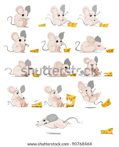 Crazy Mouse eating cheese cartoon - stock photo
