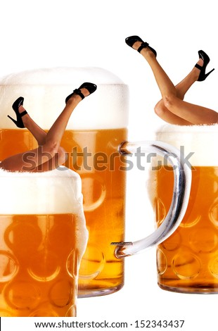 crazy oktoberfest creation with very sexy legs and beer - stock photo