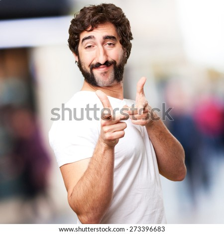 crazy proud man - stock photo