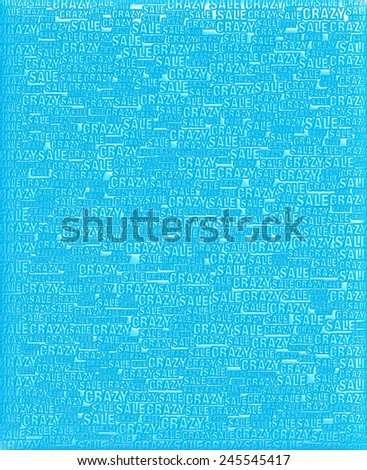 Crazy Sale text blue metallic 3D background template. - stock photo