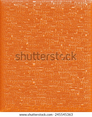 Crazy Sale text orange metallic 3D background template. - stock photo