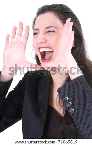 Crazy screaming business woman in suit over white - stock photo