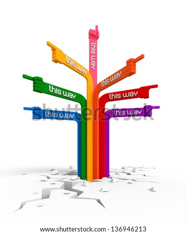 Crazy Signpost. Shaped to hands varicolored directional signs, pointing to different ways; isolated on white background. 3D rendered image - stock photo