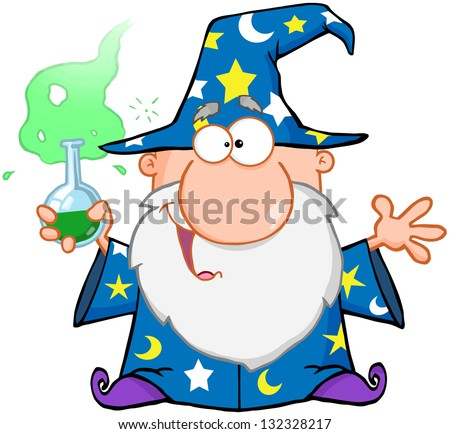 Crazy Wizard Holding A Green Magic Potion. Raster Illustration.Vector Version Also Available In Portfolio. - stock photo