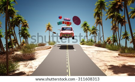 crazy woman in the car rally to the beach - stock photo