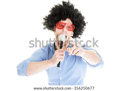 Crazy Young Party Man - Photo Booth Photo - stock photo