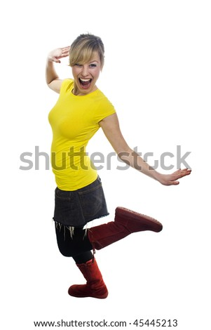 Crazy Young Woman - stock photo