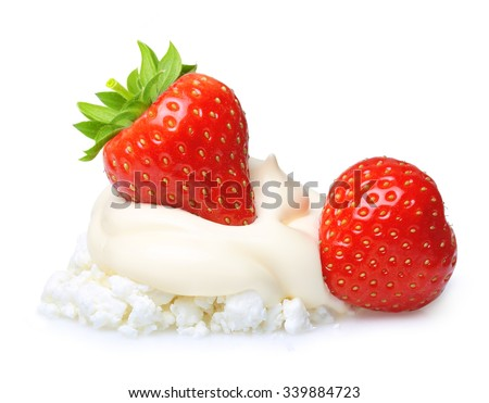 Cream and cottage cheese with berry strawberry isolated on white background. - stock photo