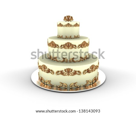 Cream cake on three floors with gold ornaments on it isolated on white background - stock photo