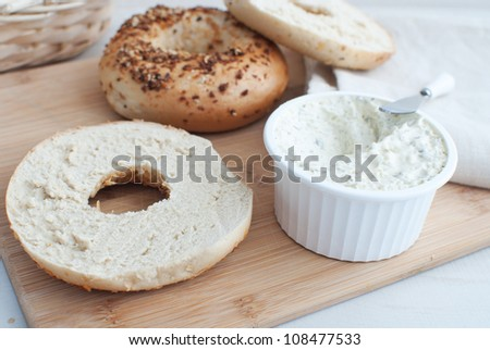 Cream cheese spread for bagels - stock photo