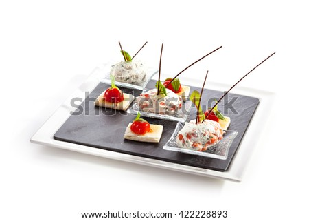 Cream Cheese with Salmon, Tomato and Herbs. Garnished with Toast - stock photo